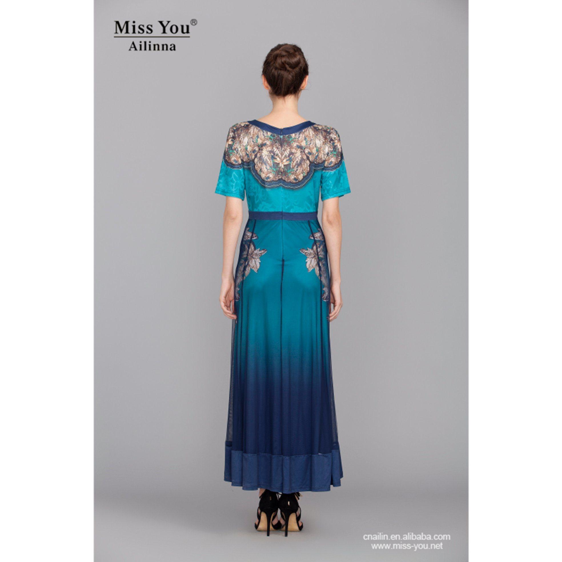 Miss You Ailinna 801412 Long Crystal Cotton Dress Distributor Printed Blue Beautiful Dress