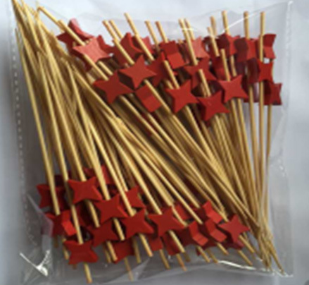 Bamboo Sticks Skewers with Red Star Decoration