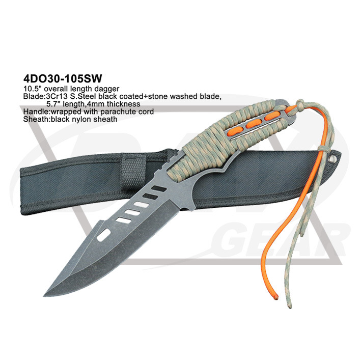 "9.7"" Red Blade Blue Handle Tactical Fixed Blade Knife Dagger"
