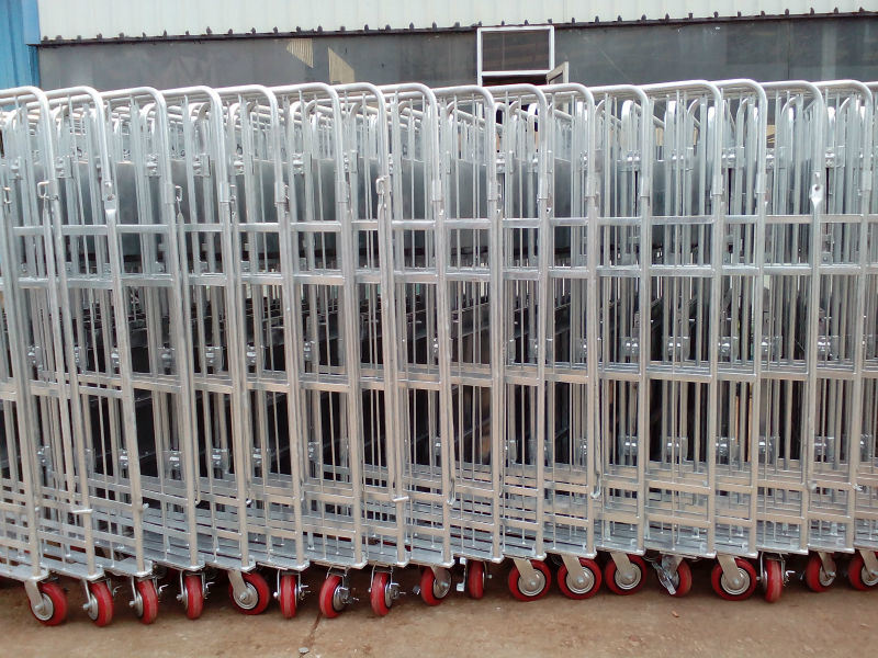 European Supermarket Foldable Nesting Mesh Roll Container Trolleys