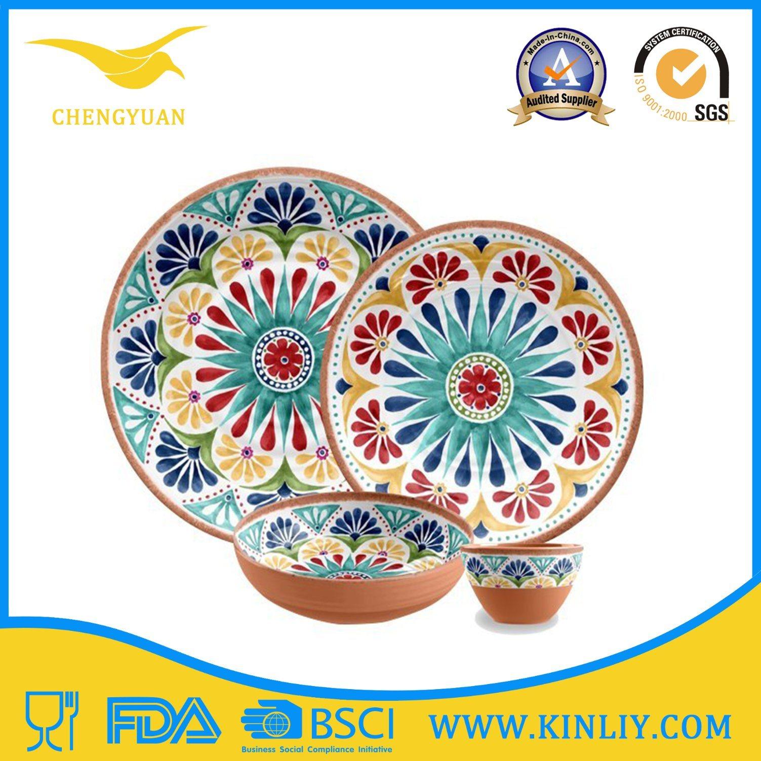 Cheap European China India Melamine Plastic Restaurant Safe Round Square Modern Home Food Set Dish Dishware Dinner Plate Set Cup Bowl Tray Tableware Dinnerware