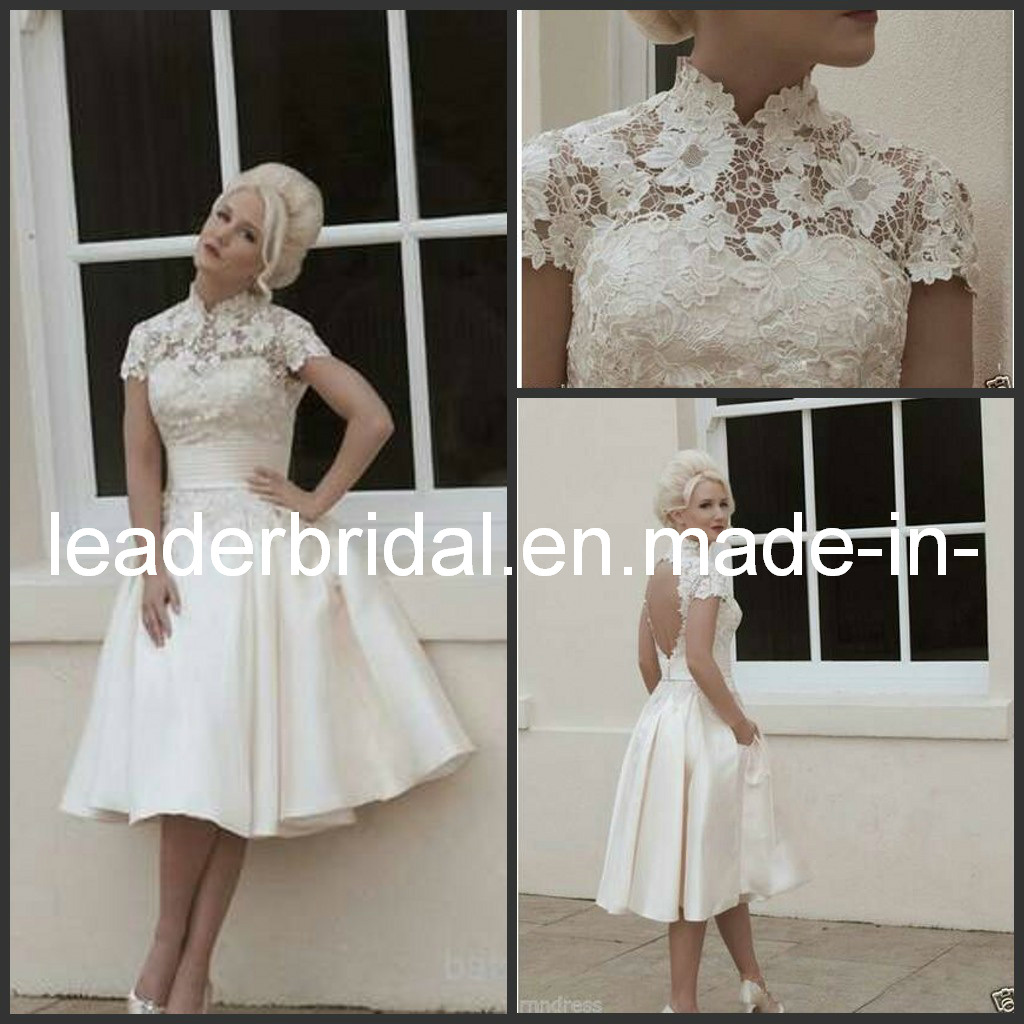 China cap sleeves wedding gown knee length beach bridal for Knee length beach wedding dresses