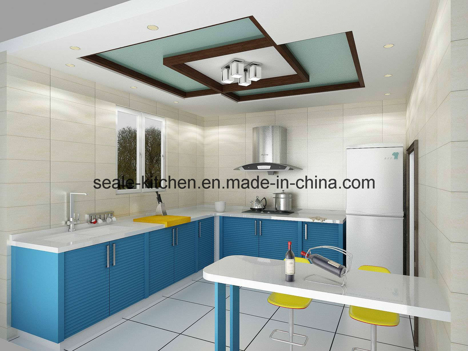 China Lacquer Kitchen Cabinet (Blue Sea) Photos & Pictures  Made in