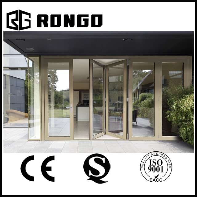 Double Tempered Glass Aluminium Folding Door China Supplier