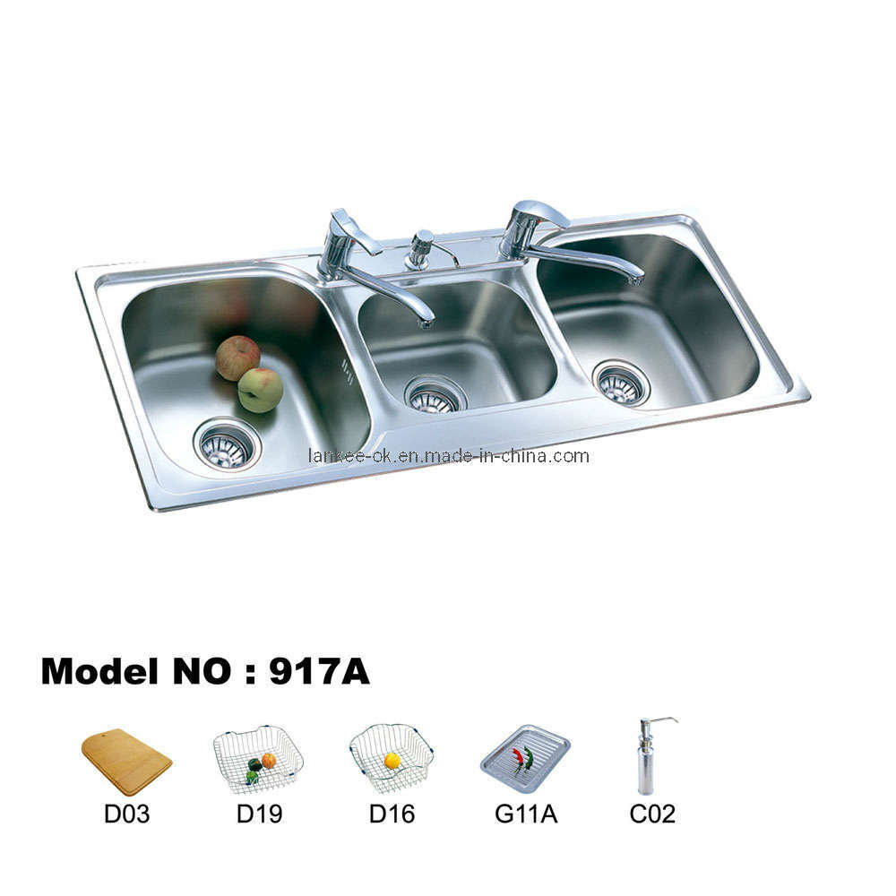 Three Bowl Sink Series (917) - China Sink, Stainless Steel Sink