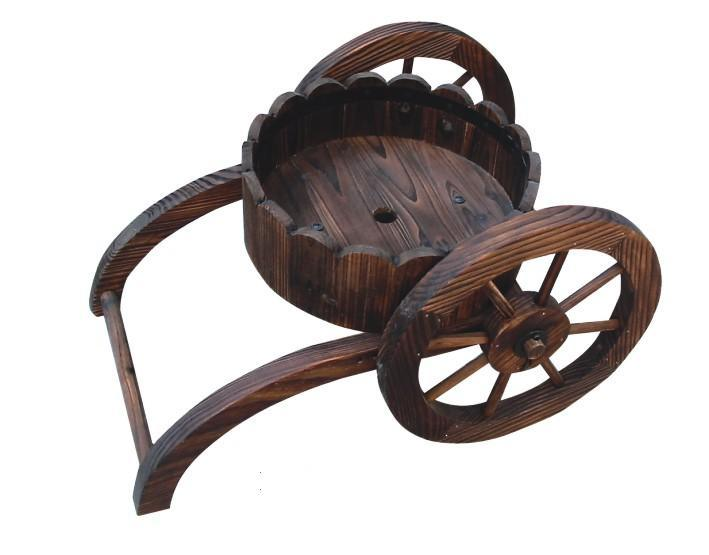 Country Wooden Flower Cart Plant Garden Patio Wheelbarrow