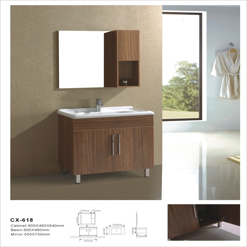 Modern Floor-Mounted MDF Bathroom Cabinet with Side Cabinet