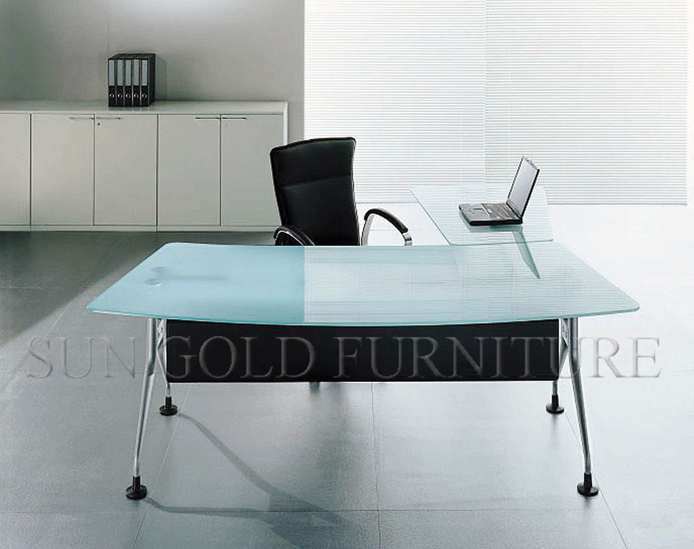 China modern office furniture glass desk with steel foot - Scrivanie in vetro ikea ...