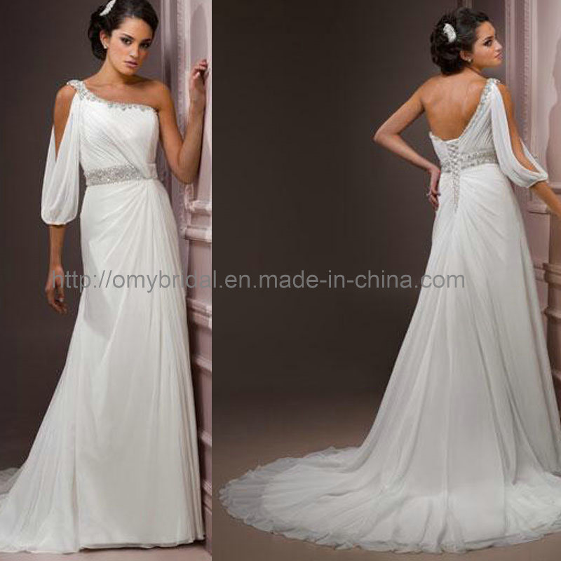 One sleeve wedding dress gown and dress gallery for One arm wedding dresses