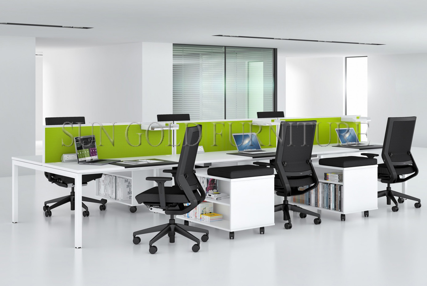 Fashion 6 Person Seats Straight Office Partition Workstation with Metal Leg (SZ-WS049)