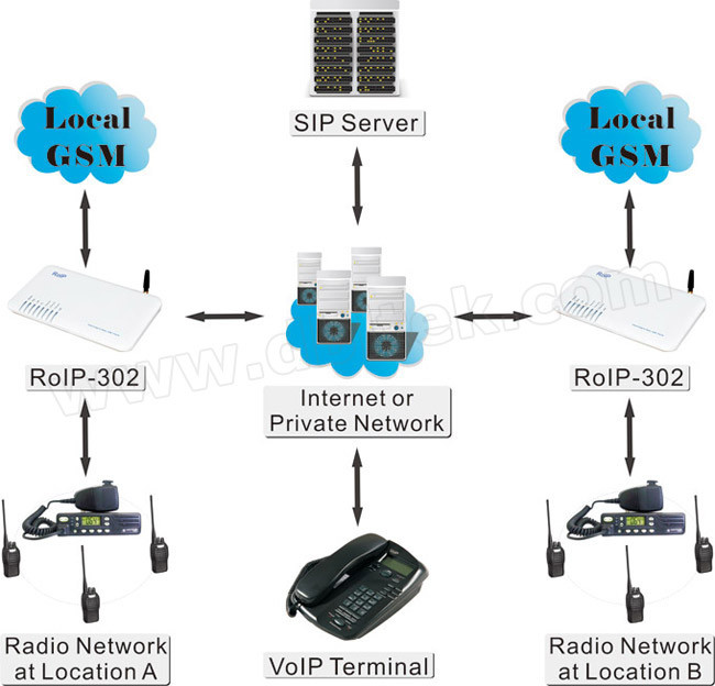 RoIP 302 Cross-Network Gateway VoIP GSM Radios Interphone Intercom (RoIP302)