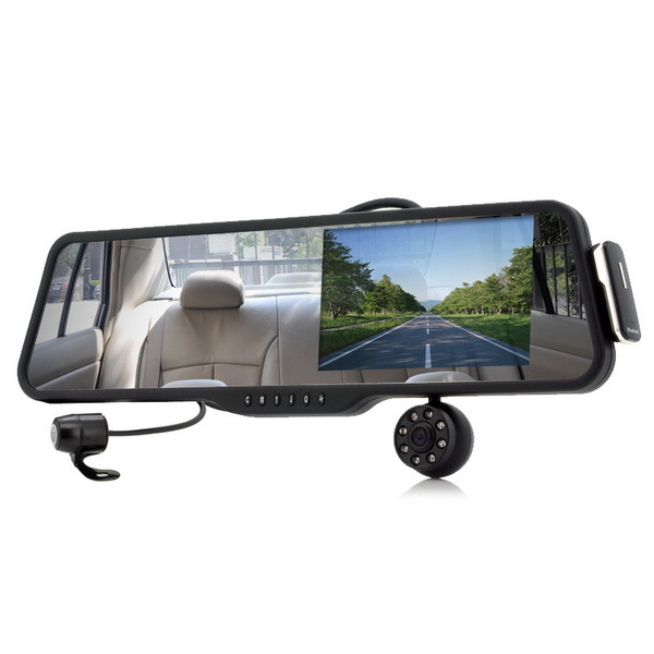 china car rearview mirror with front and rearview camera and built in 5 inch monitor bluetooth