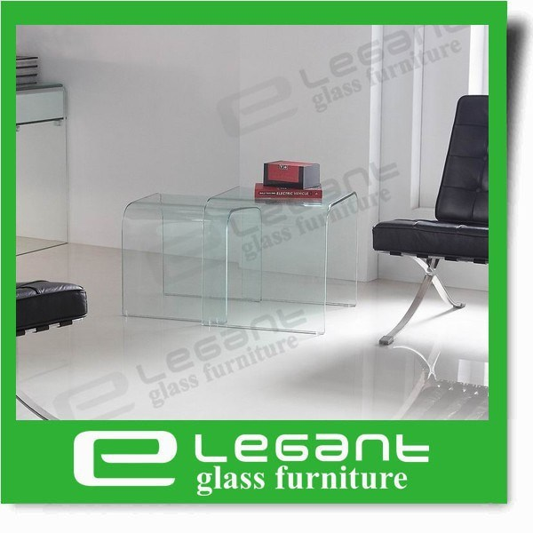 Clear Bent Glass Coffee Table with Frosted Shelf