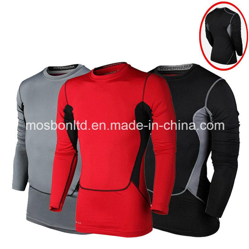Nylon Spandex Long Sleeves Compression Fitness Shirt Gym Sport Tight Shirt