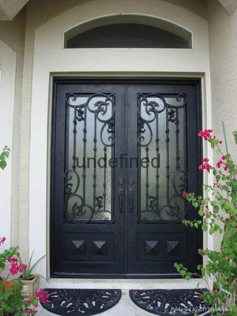 Custom Wrought Iron Front Doors with Transom and Sidelights