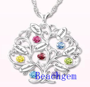 New Jewellery-Color Gemstone Sterling Silver Tree Pendant (P908913)
