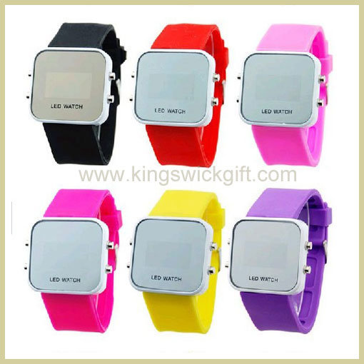 Fashion Digital Silicone Mirror LED Watch