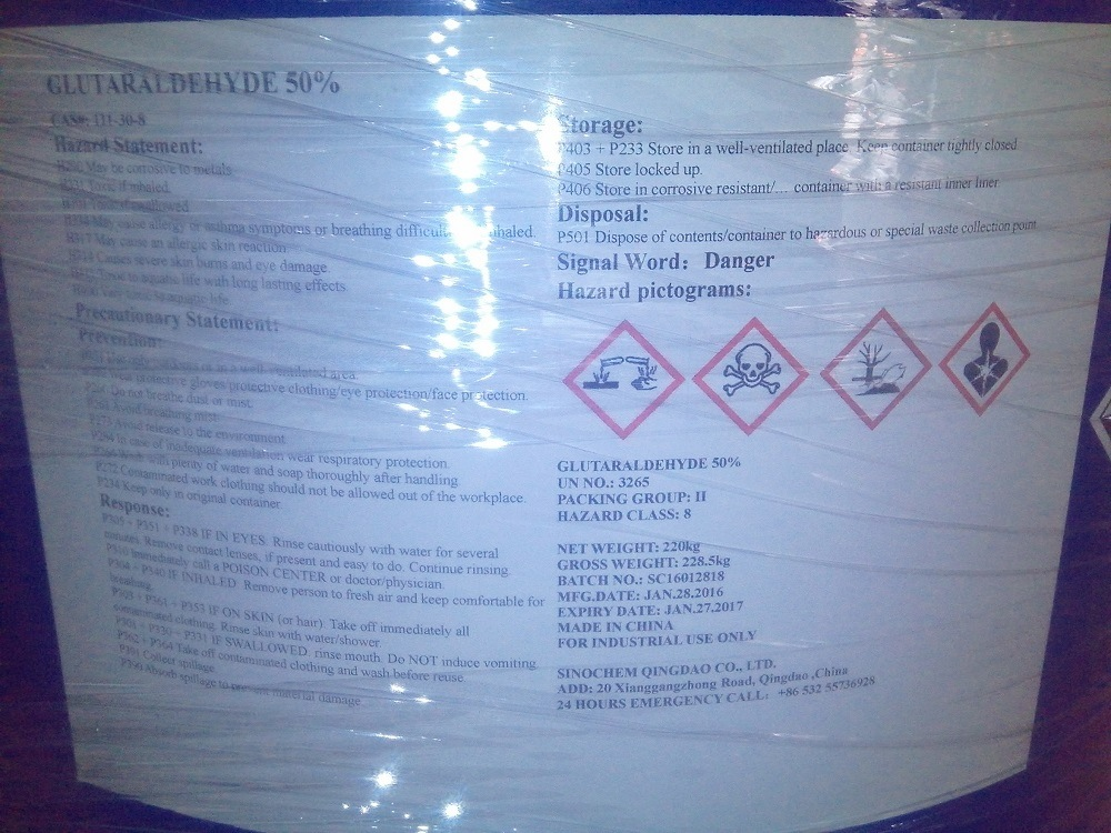 Glutaraldehyde 50% for Water Treatment