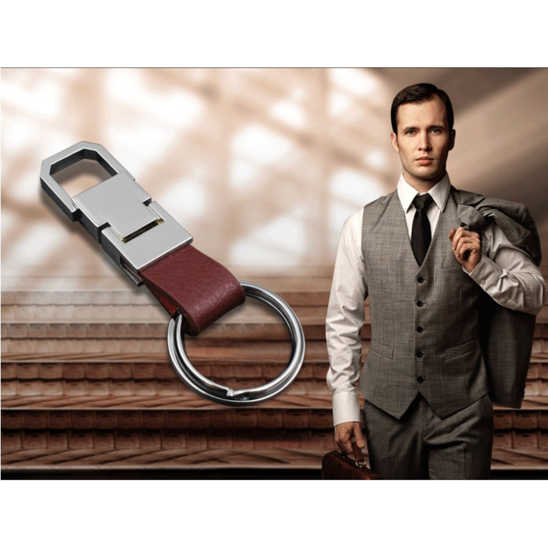 Boutique Men Metal Leather Key Chain with Logo Customized