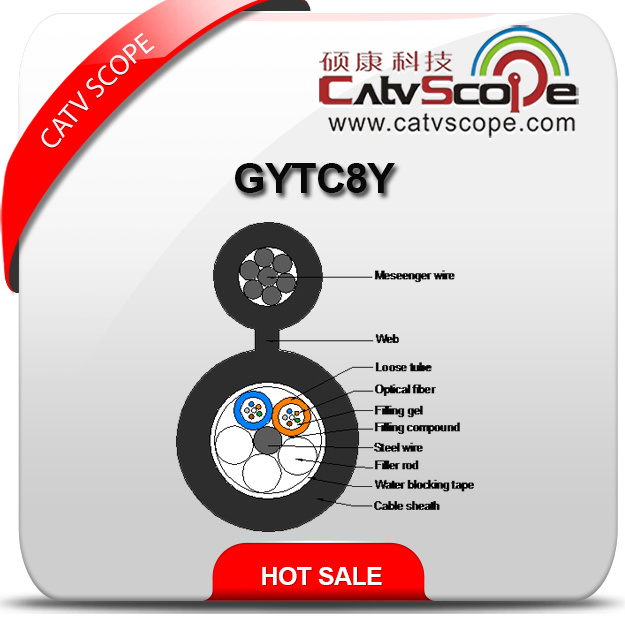 Aerial Self Supporting Optical Fiber Cable Figure 8 Gytc8y