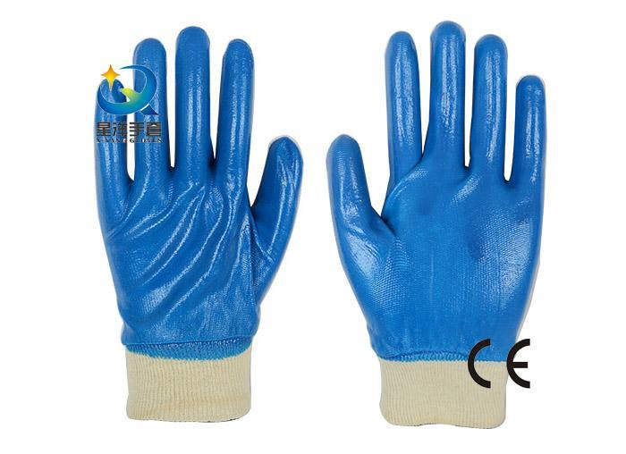 13G Nitrile Polyester Shell, Blue Nitrile Full Coated, Protective Safety Work Gloves (N6032)