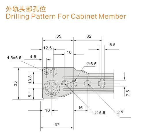 Drawer Slide- Poncho Type (BLUM type)