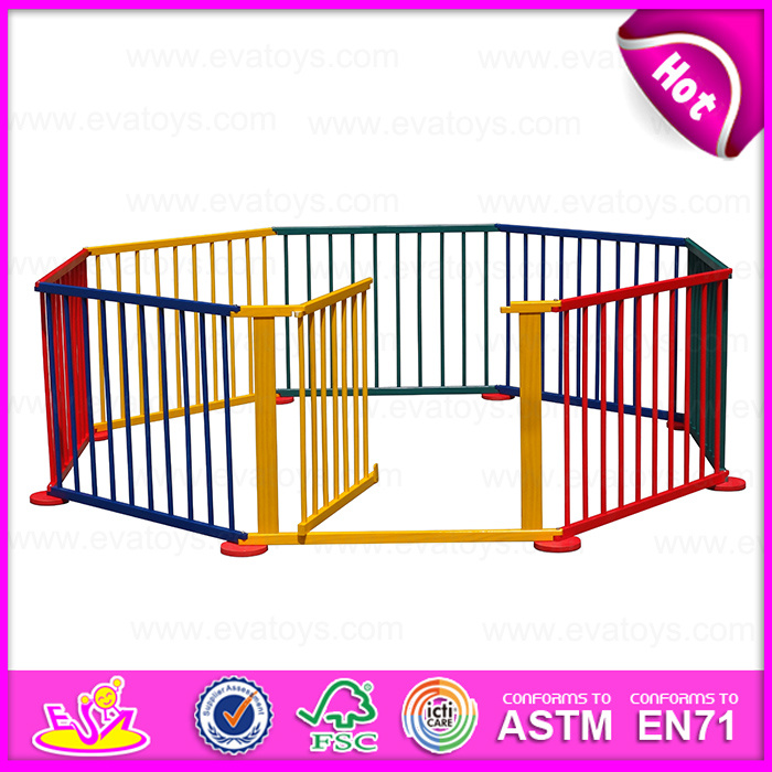 2015 Fashion Wooden Outside Playpen, Baby Safety Fence, Colorful Wooden Playpen, Wood Large Baby Playpen with Opening Door W08h009