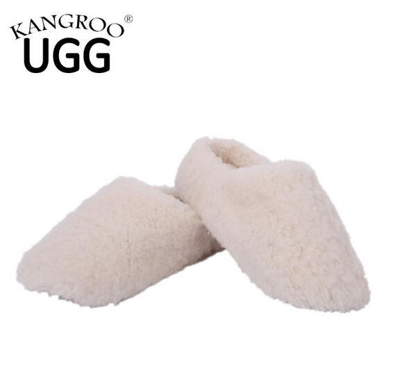 Australian Sheepskin Indoor Slipper with Soft Sole Causal Shoes Sand