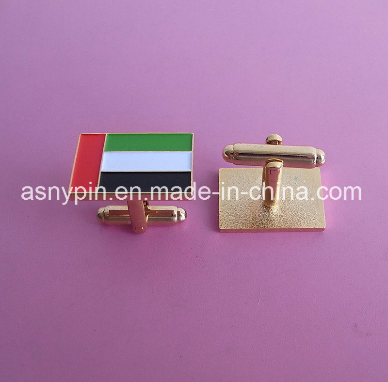 Custom Gold Rectangle New UAE Country Flag Cufflinks Souvenir
