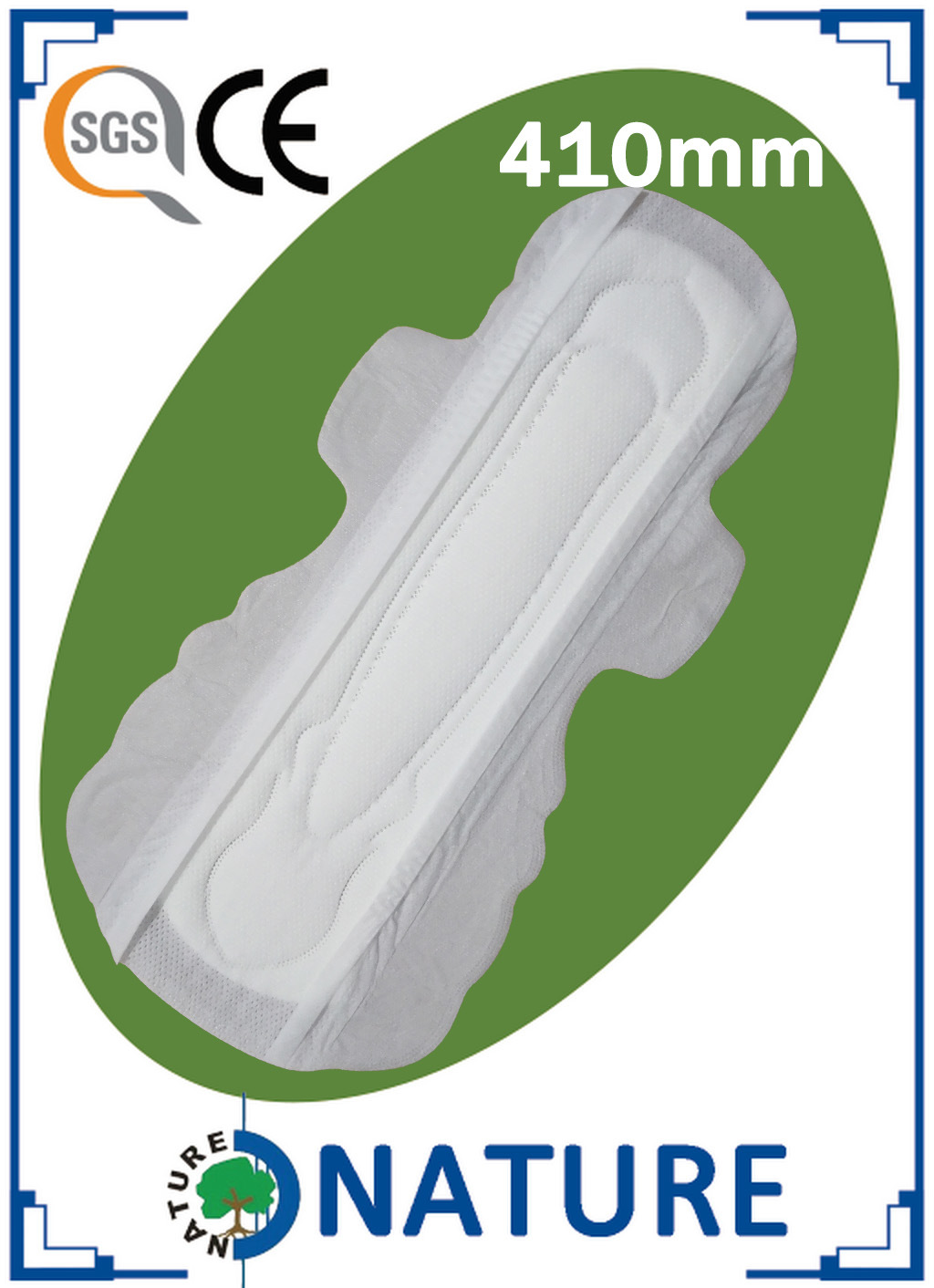 3D Lead Guard Cotton Sanitary Napkin with Double Wings