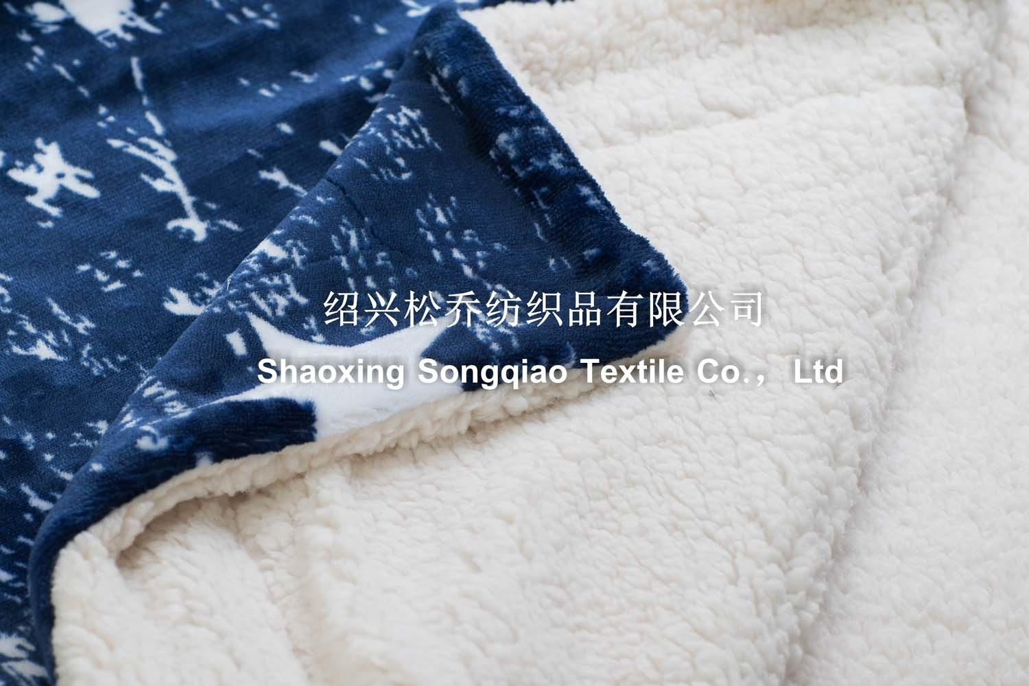 Polyester Printed Sherpa Fleece Throw /Baby Blanket-Blue Star
