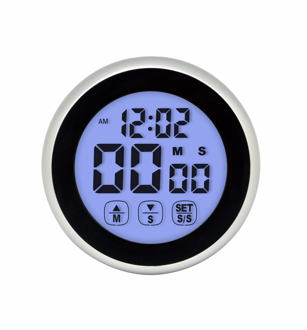Round Shape Magnetic Touch Screen Digital Kitchen Timer with Clock