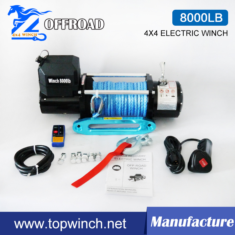 8000lbsc-1 12V/24V Synthetic Rope Winch Truck Winch