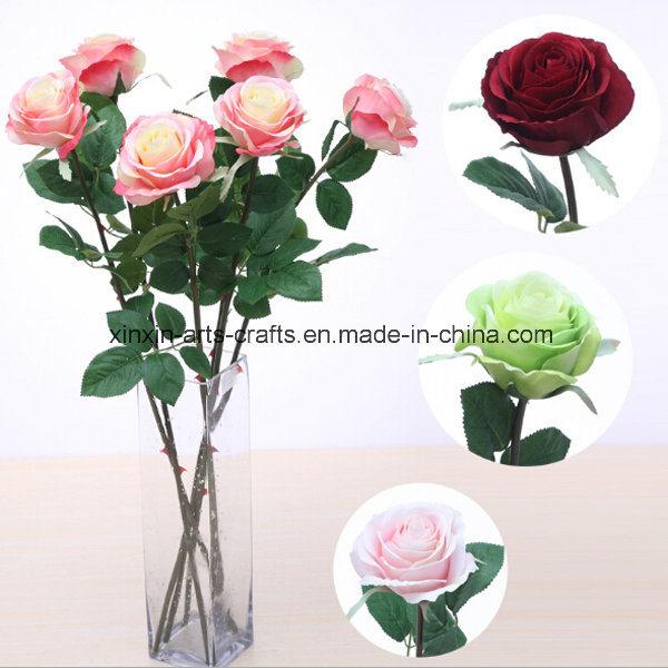 Beautiful Single&Long Stem Silk Rose Artificial Flowers Fake Rose Flowers