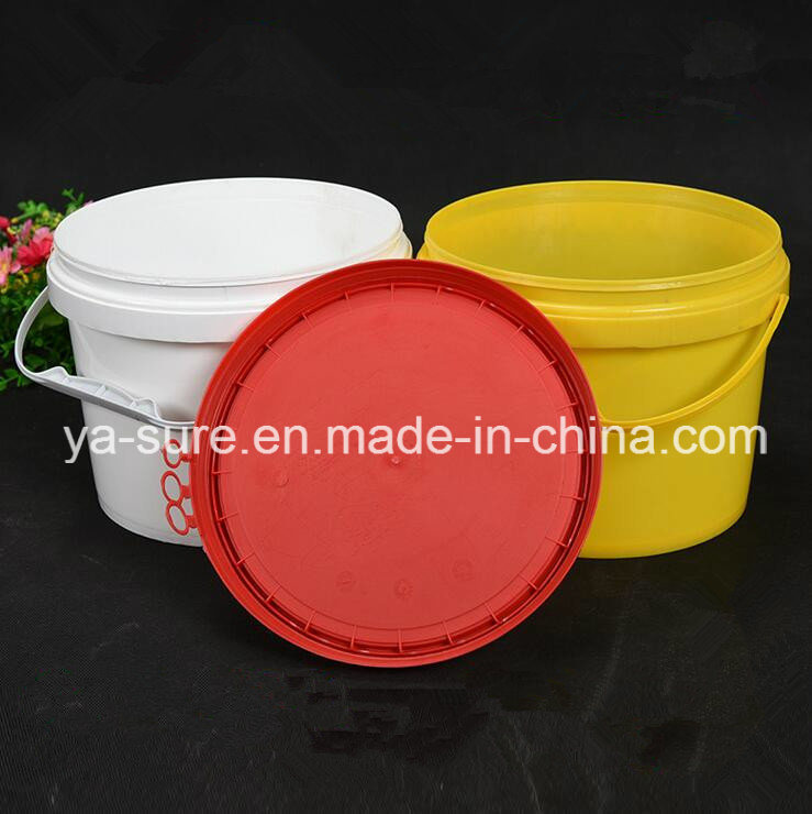 5L Round Plastic Packaging Bucket with Ring-Pull