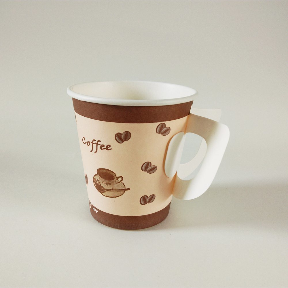 Paper Cup with Handle, Disposable Paper Glass
