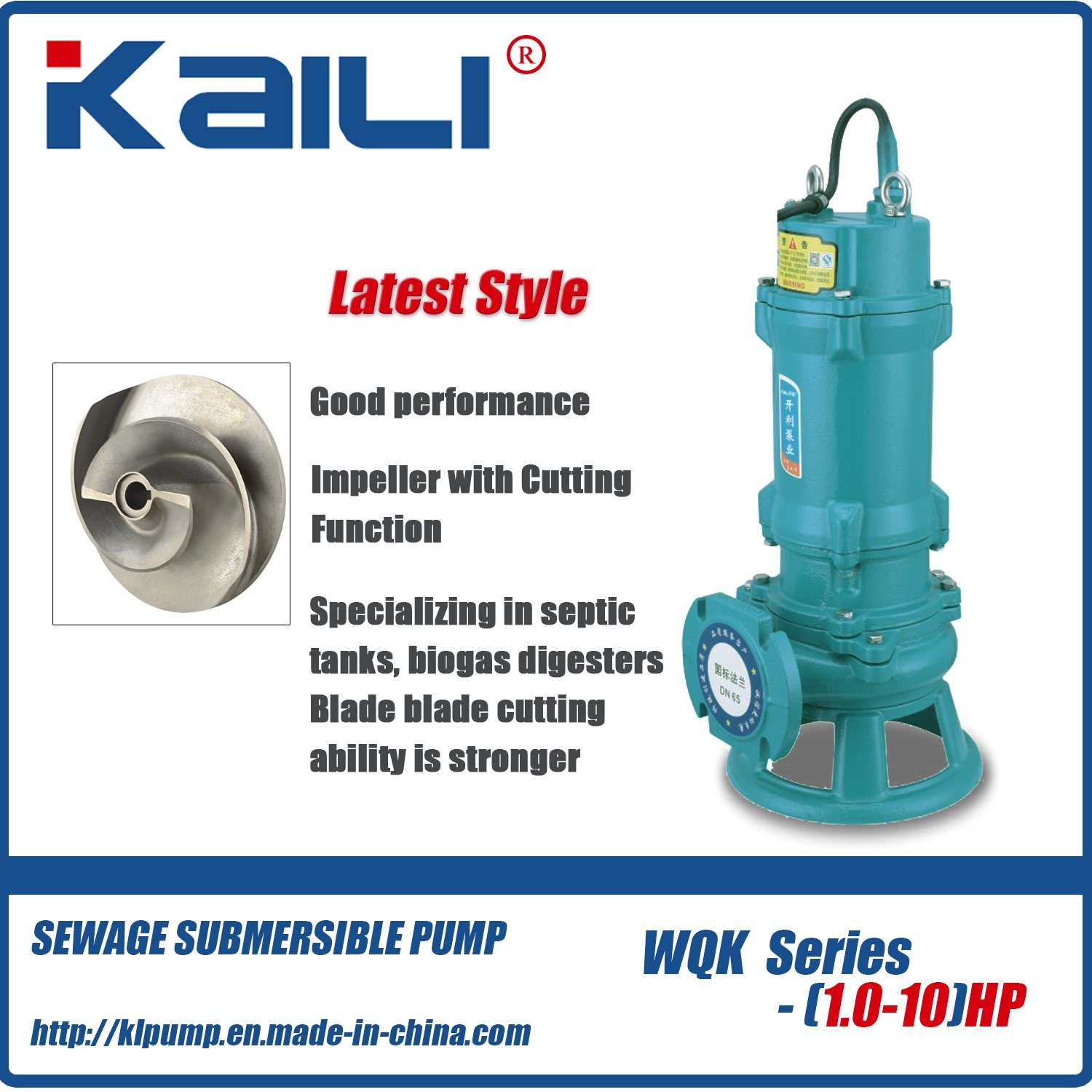 Latest Style WQK Cutting Sewage Submersible pump