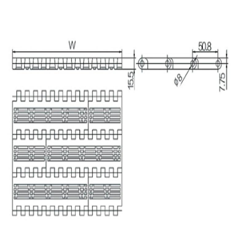 Flush Grid Modular Belts (WZ-5080A-2)
