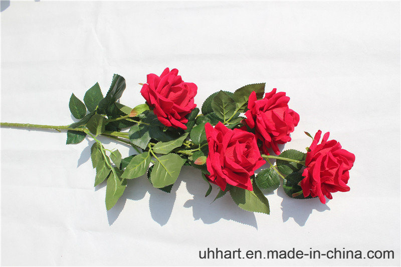 Hight Quality Red Silk Flowers Artificial Rose for Marriage Decoration