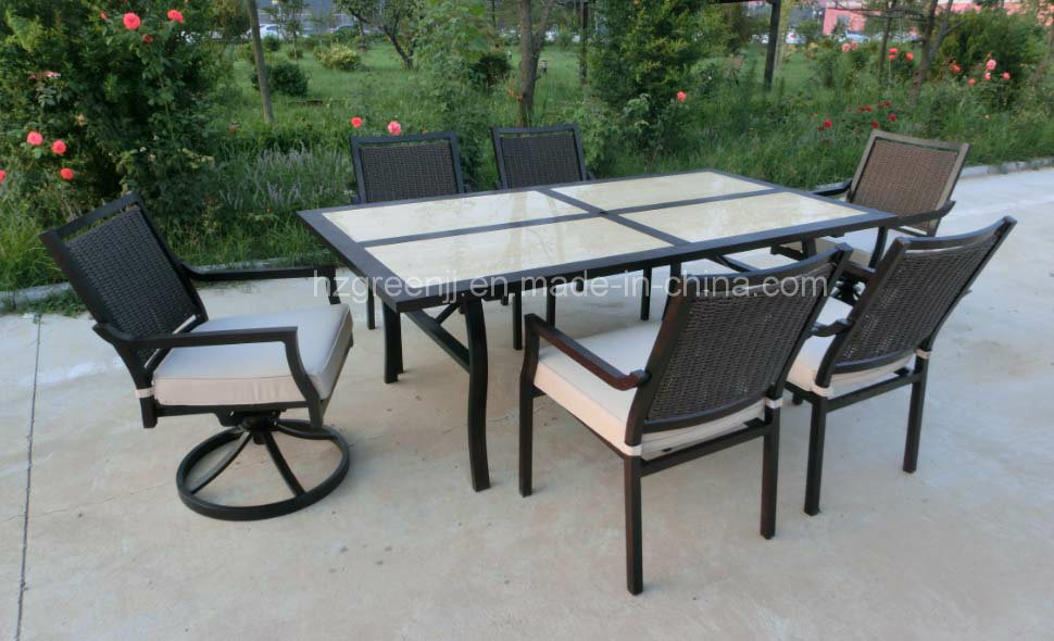 Hand Paint Wicker Outdoor Dining Set