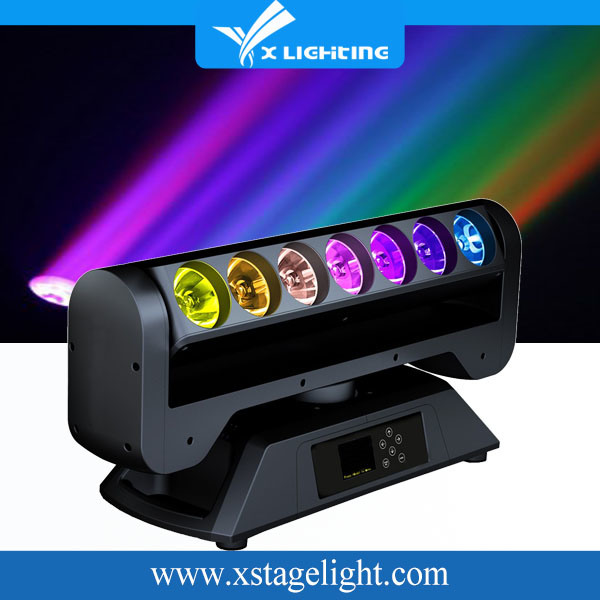 12/15/39CH 7PCS 12W High Brightness 4 in 1 LEDs Unlimited Rotating Pixel Bar Moving Head Light