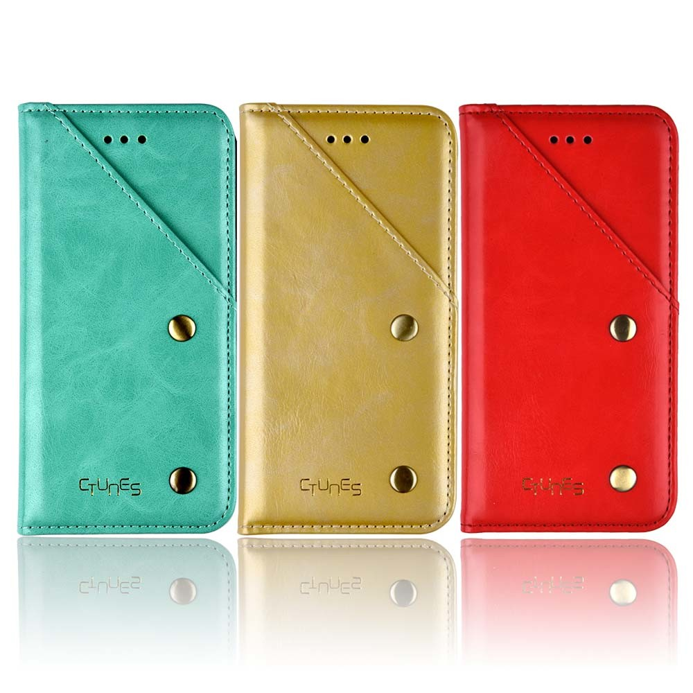 C&T Full Grain Leather Handmade Flip Wallet Case Stand Folio Cover with Card Slot for Apple iPhone 7
