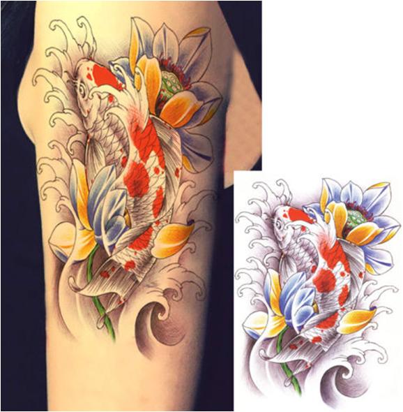 Fashionable Bright Carp Lotus Temporary Tattoo Sticker Art Tattoo