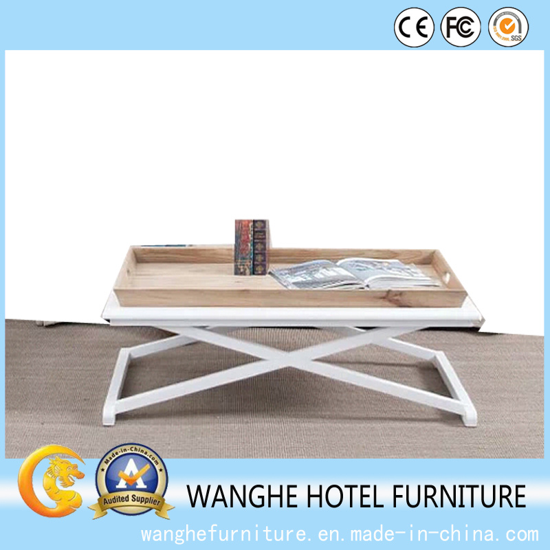 Furniture Hotel Fold Metal Frame Wooden Table Hotel Coffee Table
