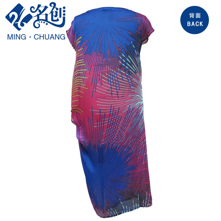 Multicolor Short-Sleeve Silky Left-Hand-Diagonal Fashion Ladies Long Dress