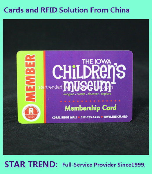 Museum Card of Plastic with Loco Magnetic Stripe (ISO 7811)