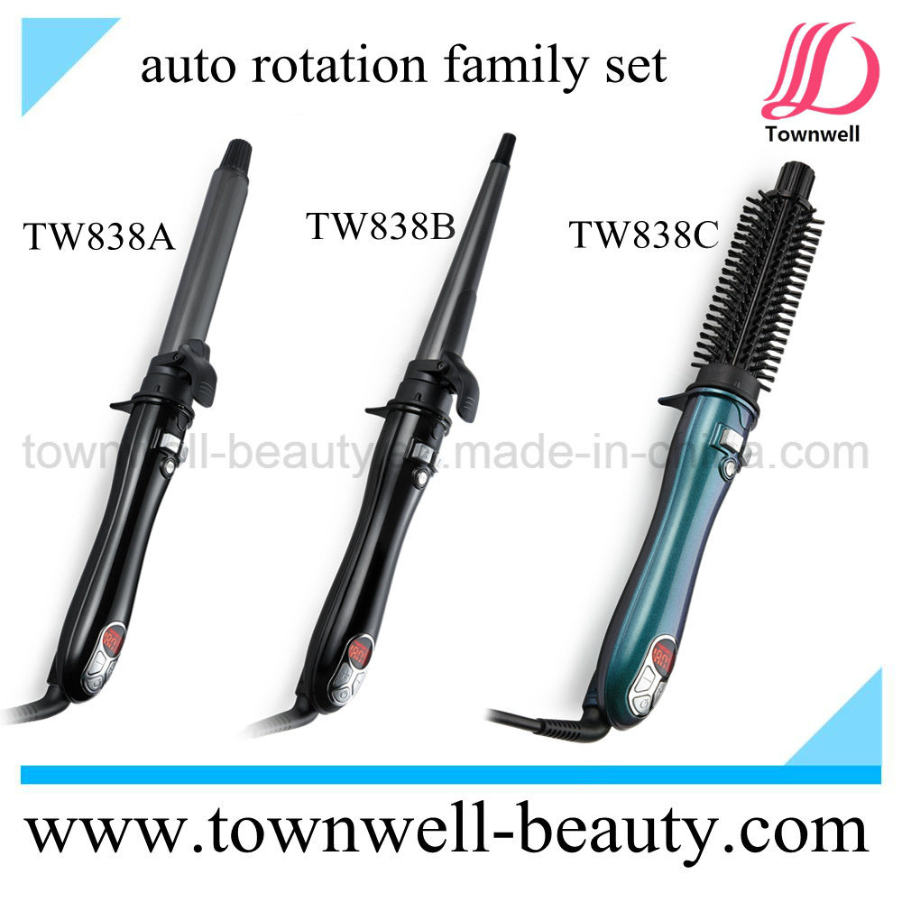OEM ODM Auto Rotation LCD Hair Curler Comb