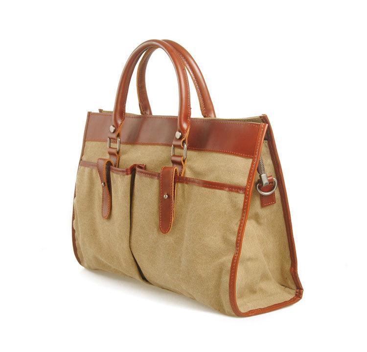 Fashion Designer Canvas Hand Bag Genuine Leather Fashion Designer Handbags (RS-880)