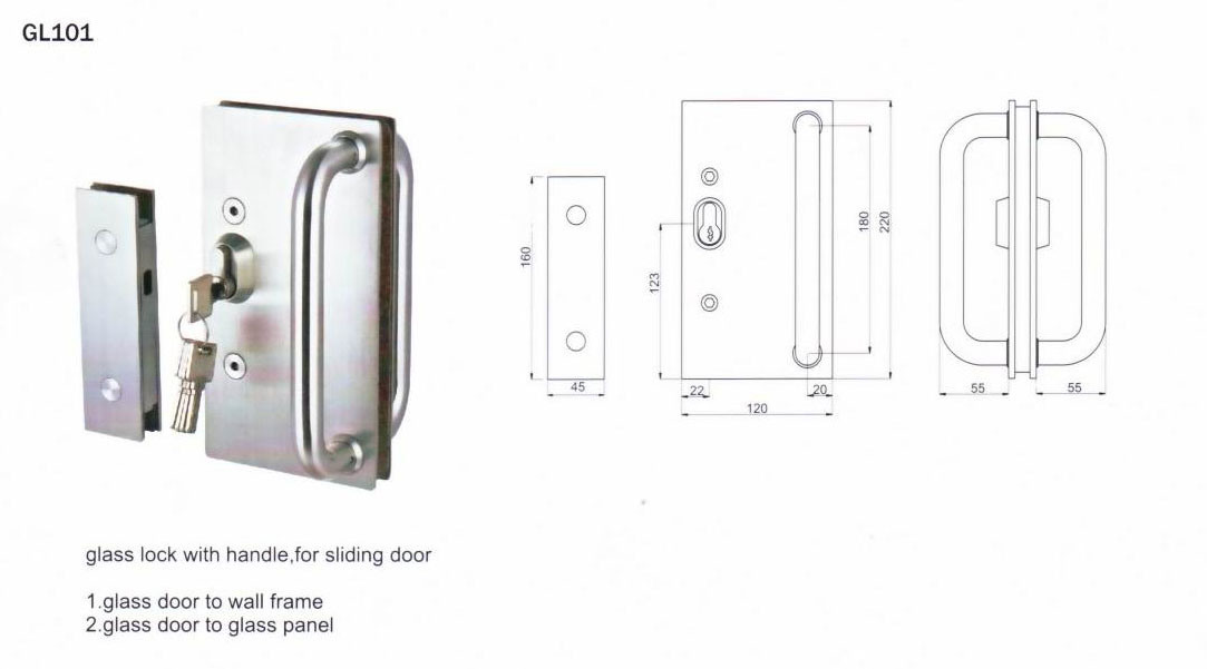 Stainless Steel Lever Handle for Glass Door
