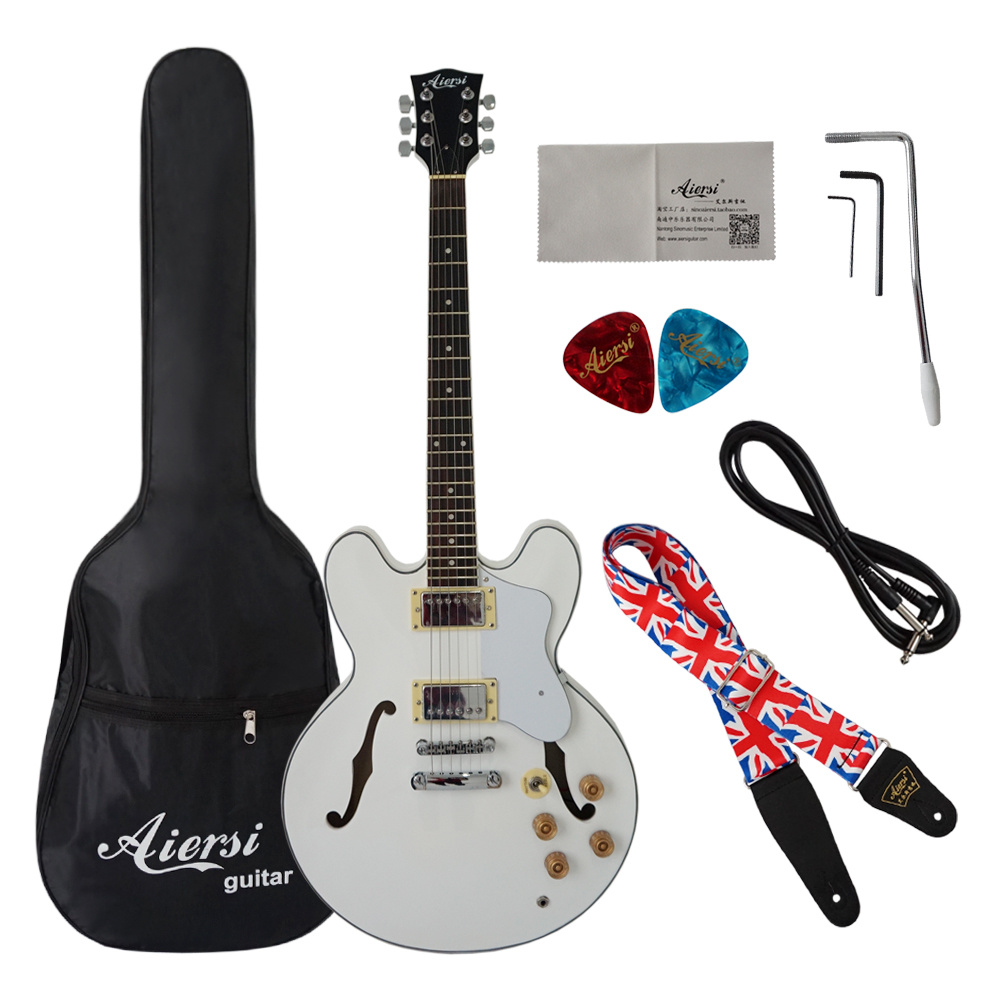 White Colour Arch Body F Hole 335 Style Electric Jazz Guitar
